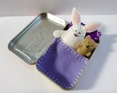 white felt bunny in tin - Bunny in a Box™ w/ purple bedding - Altoids tin toy - travel toy - purse toy - pocket toy - in stock ready to ship