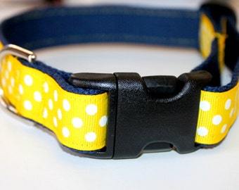 Yellow Dog Collar and Leash Navy Dog Collar and Leash Preppy Dog Collar Pet Collar Ribbon Dog Collar Nautical pet Collar Chevron Dog Leash