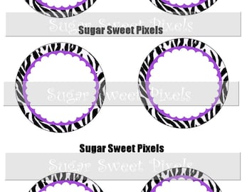 INSTANT DOWNLOAD Blank Purple Zebra Flower 1.5 inch Circle Bottlecap Images 4x6 sheet