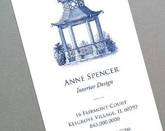Blue and White Pagoda or Pink Pagoda Chinoiserie Business Cards, Set of 50