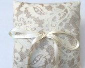 Ready to ship - Handmade Wedding Ring Bearer Pillow, gold and ivory lace, Lace Ring Pillow, Ornate, Classy, Timeless