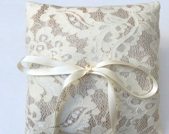 Handmade Wedding Ring Bearer Pillow, gold and ivory lace, Lace Ring Pillow, Ornate, Classy, Timeless