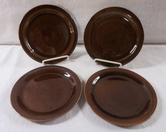Vernon Kilns Plates Brown Early California Four 6-1/2 Inch Bread and Butter Plates