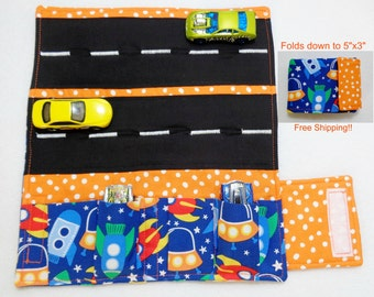 Space Ship Print Car Wallet/ Car roll up/Toy car holder/ Free Shipping/ Ready to ship.