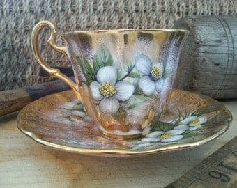 Vintage 1960's Adderley Tea cup and saucer Gold with wild roses made in England