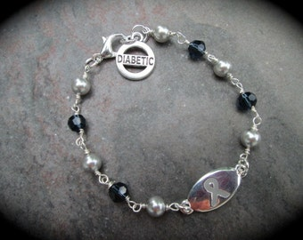Diabetes Medical Alert Bracelet with Swarovski pearls and blue Crystals Diabetic charm Rosary style Gray Ribbon Bracelet Diabetes Bracelet