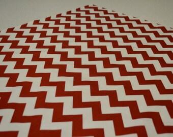 """36"""" x 36"""" Crimson Red and White Chevron Tablecloth"""