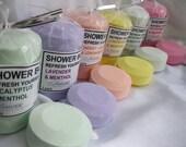 SHOWER BOMBs PK of 3 - ReFresh Yourself - Aromatherapy Choose: Lavender, Energy, Eucalyptus, Rosemary Mint, Peppermint,  Lemongrass, Jasmine