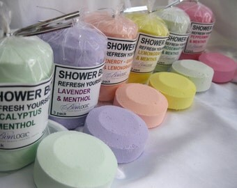 SHOWER BOMBs PK of 3 - ReFresh Yourself - Aromatherapy: Lavender, Energy, Eucalyptus, Rosemary Mint, Peppermint,  Lemongrass, Jasmine n More