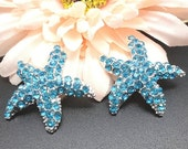 ON SALE Aqua Blue Rhinestone STARFISH Silver Tone Metal Buttons Metal Buttons Embellishments For Hair Bow Centers Beach Wedding 30mm