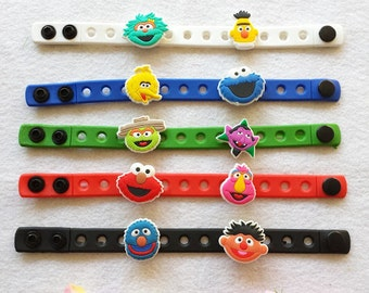 10 Sesame street  Silicone Bracelets Party Favors