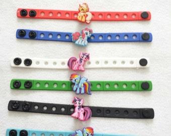 10 Pony Silicone Charm Bracelets