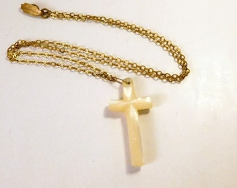 Vintage SHELL CROSS with Chain - Religious Jewelry Necklace Pendant - Lovely
