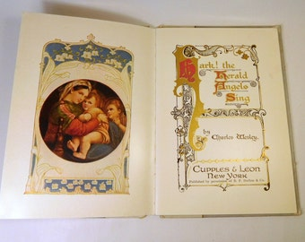 """Antique Victorian """"Hark the Herald Angels Sing"""" Book / Christmas Carol / Early 1900's / GORGEOUS Illustrations - Art / Vintage"""