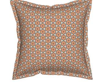 Flower Geometric Pillow, Peach Throw Pillows, Geometric Pillow, Floral Decorative Pillow, Peach Cushion, Pillow for Couch, Pillow for Sofa