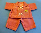 """Vintage Doll Outfit 1983 - Cabbage Patch """"Cry-Baby"""" Rose/pink Corduroy Jacket and Pants, Patch on pocket with image and """"c. 1983 OAA Inc."""""""