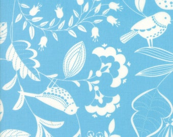Light Periwinkle Blue and White Bird and Leaf Fabric - Wing & Leaf by Gina Martin from Moda - Fat Quarter