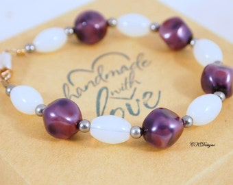 SALE Moonstone and Pearl Bracelet, Purple and White Beaded Bracelet, Gemstone bracelet, Sterling Silver, OOAK Handmade Bracelet.