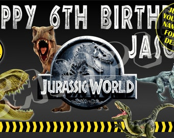 Jurassic World // Jurassic Park // Jurassic World Personalized Banner // Personalized Birthday Banner Party Decoration