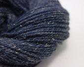 Handspun DK Yarn- Blue Sparkly,  259m, 98g, Merino and Stellina, Winter Twilight 1