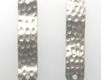 Hammered silver plated rectangle connector set of 2 : item # 2521
