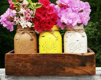 3 Distressed Mason Jar Vases with Reclaimed wood box-Shabby chic-Cottage-Rustic-brown,yellow,ivory-Color Choices!Wedding,Baby shower,& More