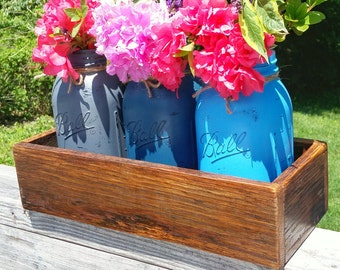 3 Distressed Mason Jar Vases w/Reclaimed wood box-Shabby chic-Cottage-Rustic-Gray and Blues-Color Choices!Wedding,Baby shower,Cabin,MoreMore