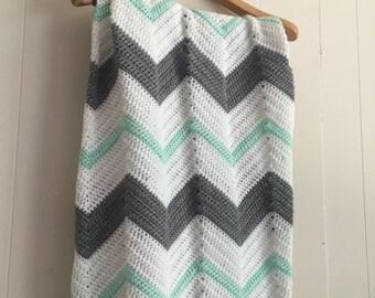 Mint & Gray Chevron Crochet Baby Blanket