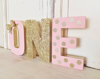 """8"""" Birthday """"ONE"""" Letter Set Free Standing Photo Prop / Table Decor with Gold Glitter BOW ~ Pink & Gold"""