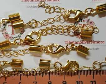 """10 pairs per pack 12x8mm Lobster clasp and 2.5"""" Extension Chain with 4mm leather crimp Copper Gold plated."""