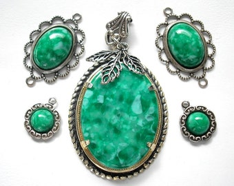 Five Piece Set Emerald Green Acrylic Pendant, Connectors and Charms Antiqued Silver