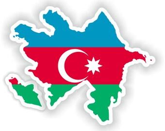 Azerbaijan Map Flag Silhouette Sticker for Laptop Book Fridge Guitar Motorcycle Helmet ToolBox Door PC Boat