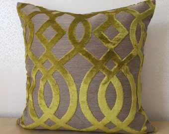 """Zest LIME Chartreuse Du Barry Trellis from Osborne & Little 50cm or 20"""" square cushion ACCENT cushion covers in covers in Citrus Lemongrass"""