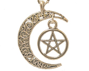 Crescent Moon Pentacle Silver Pewter Necklace