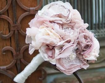 Brooch bouquet, pink bouquet, dust pink bouquet, shabby chic bouquet, pink brooch bouquet, forever bouquet