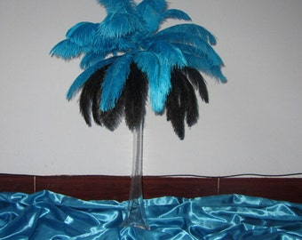 100 Feathers in Turquoise &  Black Color Ostrich Feather Plume for Wedding centerpieces,