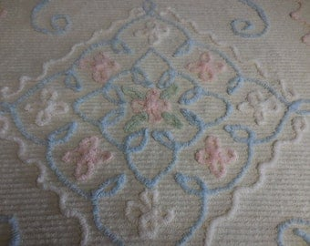 Vintage Chenille BABY Blanket / Bedspread / Lap Throw - Pale Yellow with Pink and White Flowers and Blue Bows and Scrolls - Free Shipping