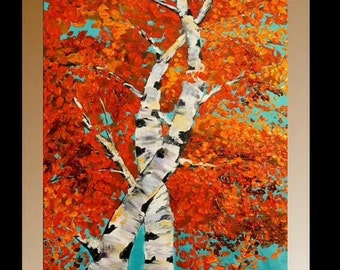 XL Original Birch Trees Painting Landscape Autumn  Aspen Birches,  Palette Knife,Oranges,Reds, Golds,Blues by Nicolette Vaughan Horner