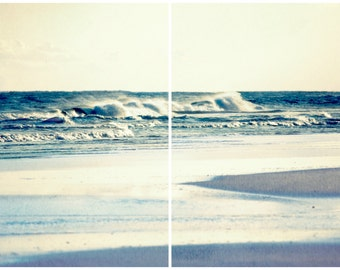 Beach Photography Set | Ocean Waves Art Print | Beach House Decor Set of 2 Prints | Beach + Ocean Life | Beach + Ocean Theme Gifts | OBX, NC