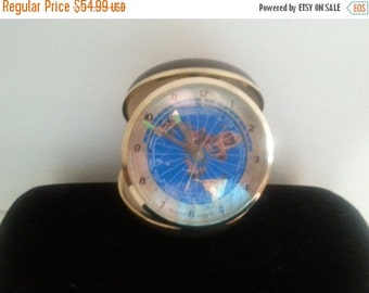 Now On Sale Bulova Travel Alarm Clock * Vintage Working Clock * 1960's 1970's Japan Collectible Blue Map Clock