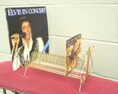 Mid Century Harp Record Wire Rack Vinyl Music Album Holder Storage - Shelf Rack - Gold Ball Feet - 45s / 33s - Holds approx 70 Records