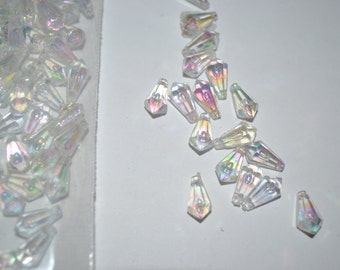 6MM X 11.5MM Crystal Aurora Boreale Horizontal Hole Tear Drop Acrylic Bead 1Gross