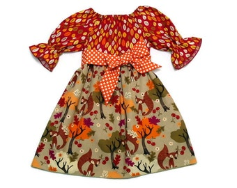 Girls Fall Dress Fox Back To School Orange Polka Dot Peasant Size 6-12 month, 18 month, 2 / 3, 4 / 5, 6 / 7, 8 / 9