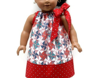18 Inch Doll Clothes Dress Pillowcase 4th of July Patriotic Pinwheels Red Stars 15 inch Doll Clothes