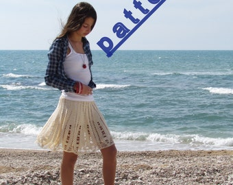 Crochet  skirt pattern Womens lace skirt pattern Cream lace skirt pattern  PDF tutorial pattern