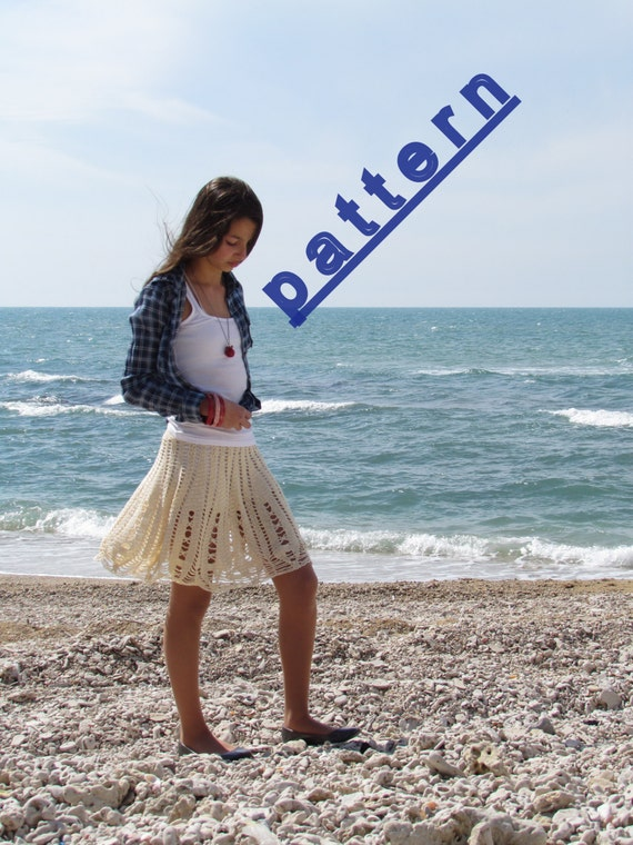 Crochet skirt pattern Womens lace skirt pattern Cream lace