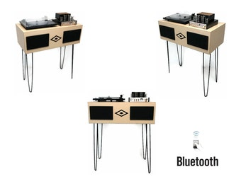 EXCLUSIVE CUSTOM series - VintedgeCo Mini Premier™ Console Record Player in Maple - Bluetooth - Turntable - Tube Amplifier