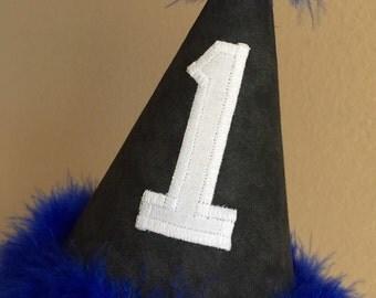 First Birthday hat in grey white royal blue