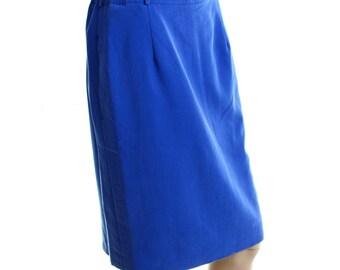 Vintage Rudolph Scherer Violet Blue Purple Knee Length Pencil Skirt UK 12 US 10