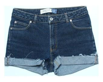 Vintage 90s Gap Blue Stretch Denim Cut Off Shorts UK 10 US 8